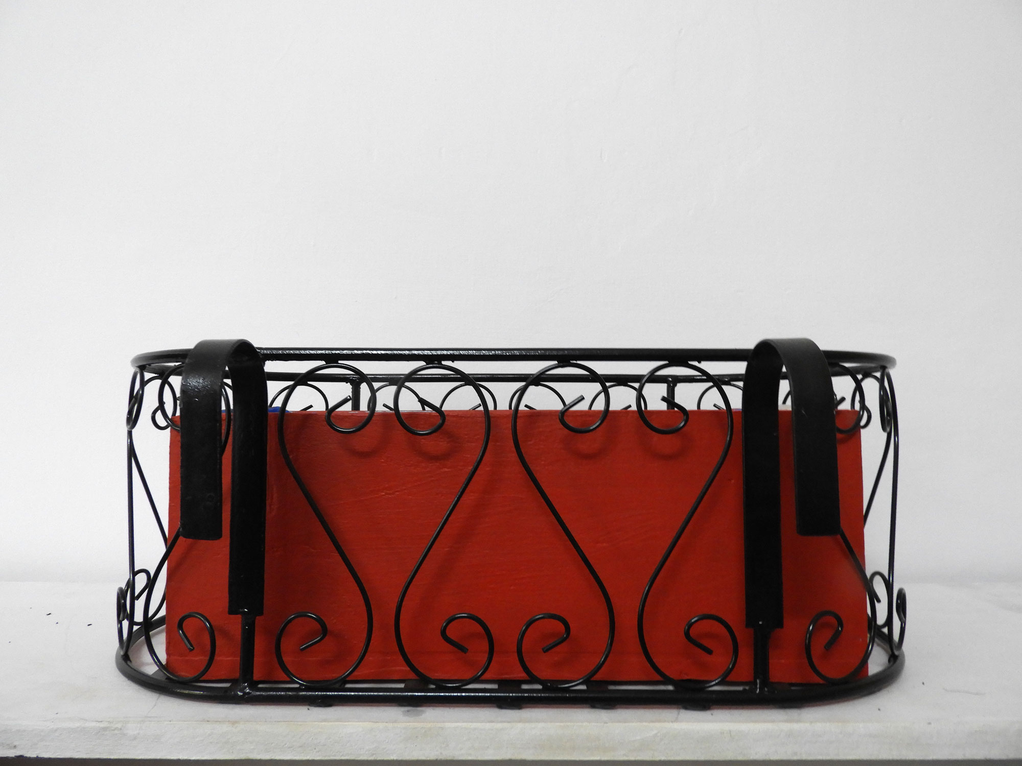 Wrought Iron Railing Planter Small 'S' Pattern with Rectangular Filler Wood Planter