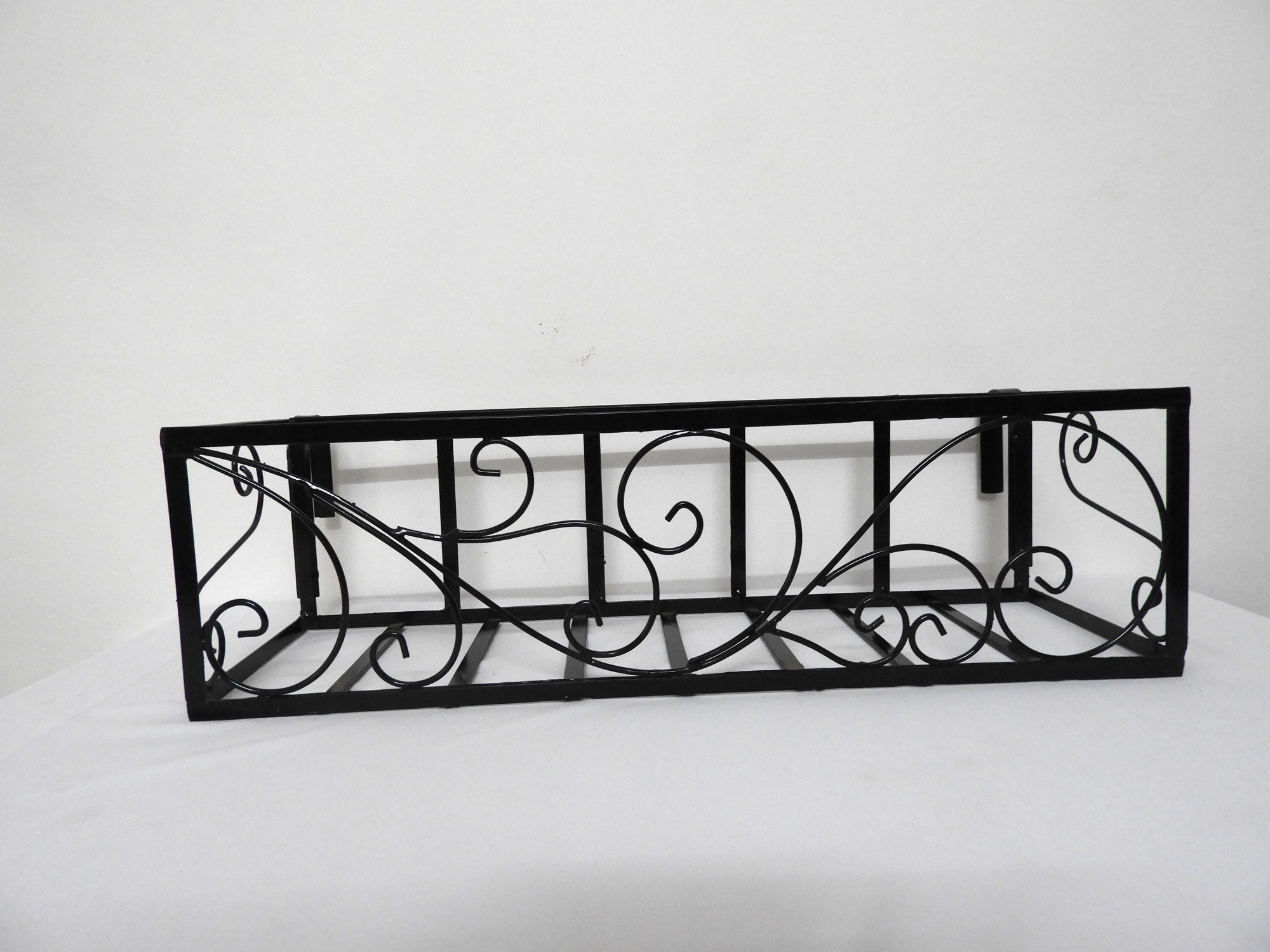 "Wrought Iron Railing Planter with 'Swrill"" Pattern"