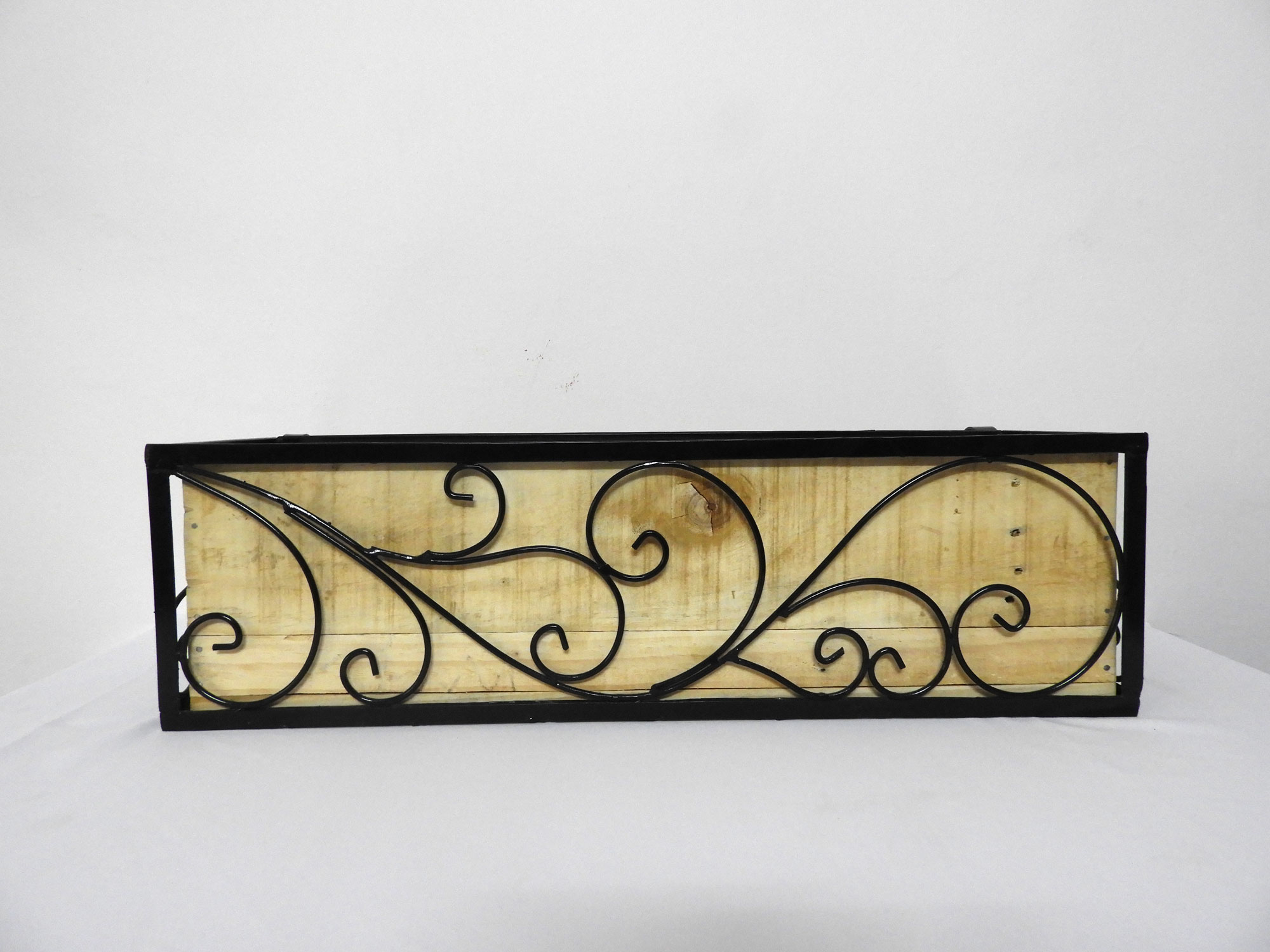 """Wrought Iron Railing Planter with 'Swrill"""" Pattern with one (01) Wood Railing Planter Rectangular (XL)"""