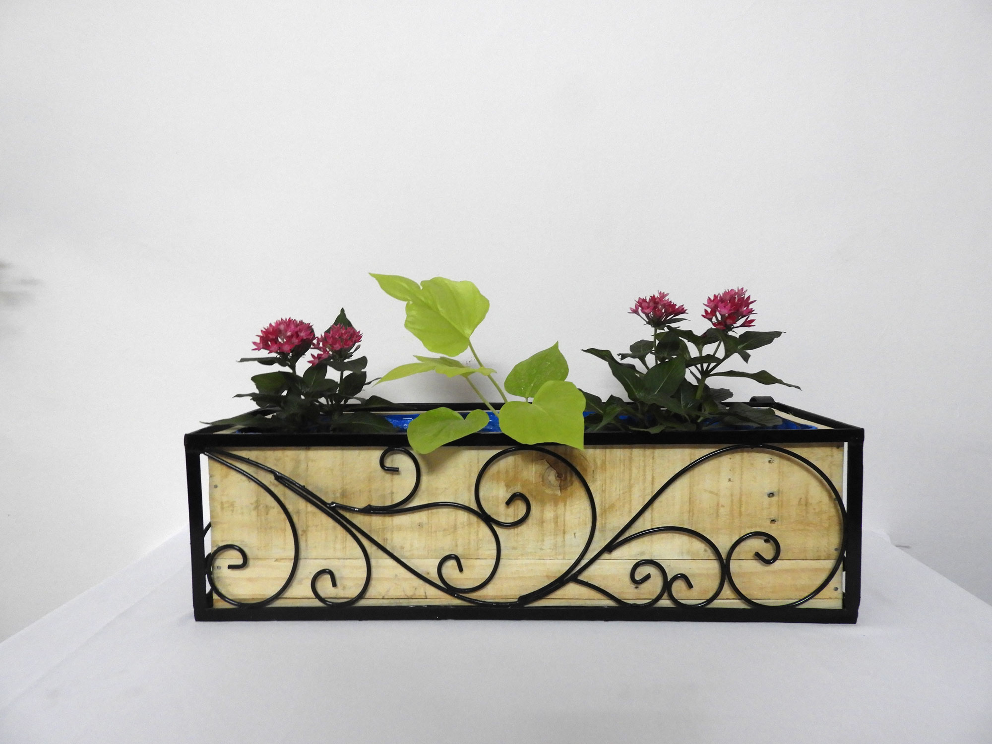 "Wrought Iron Railing Planter with 'Swrill"" Pattern with one (01) Wood Railing Planter Rectangular (XL)"