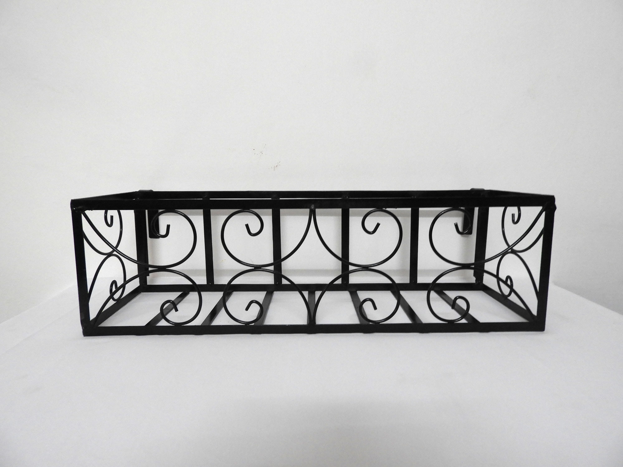 Wrought Iron Railing Planter with Small 'C' Pattern