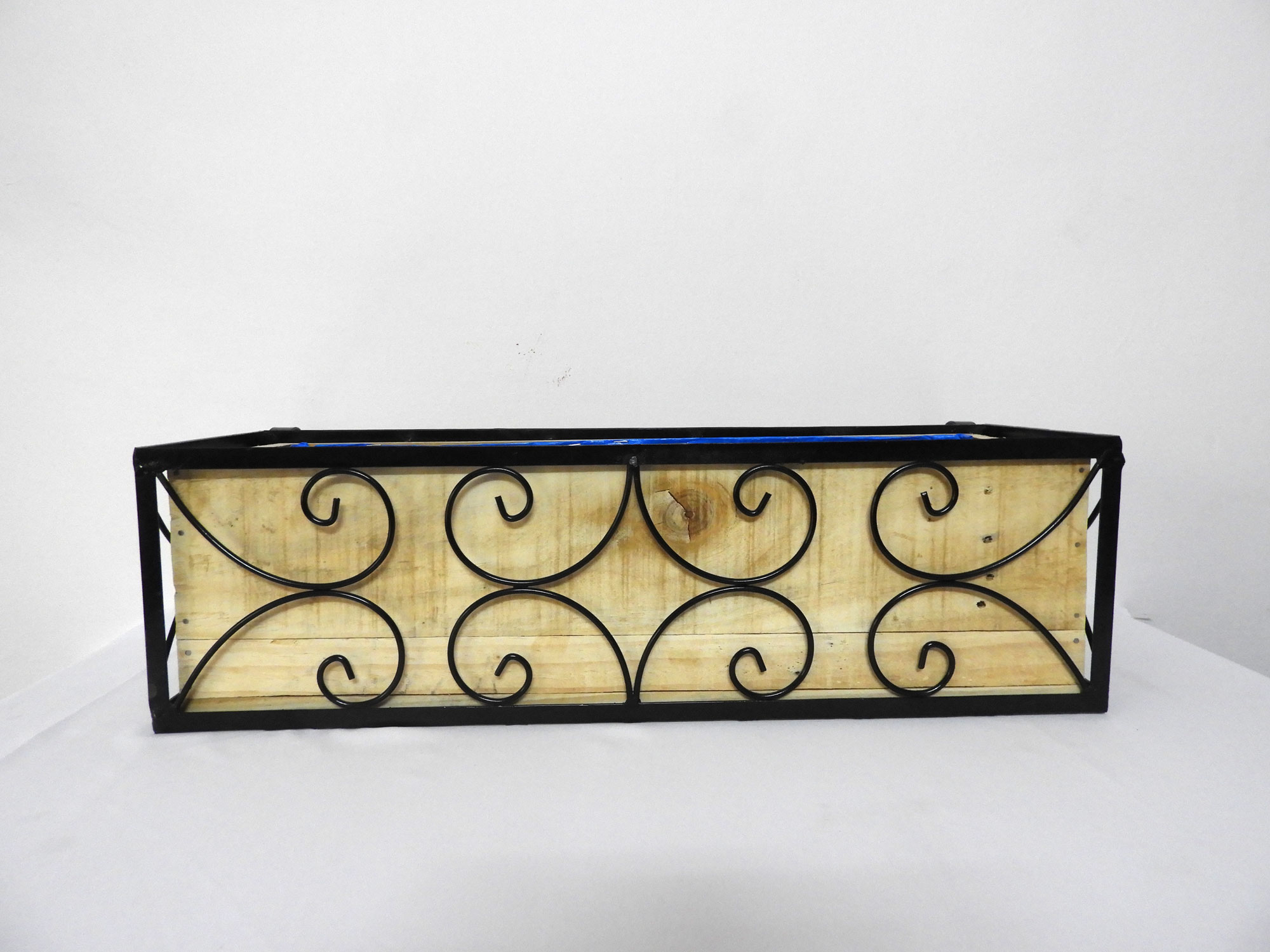 Wrought Iron Railing Planter with Small 'C' Pattern with one (01) Wood Railing Planter Rectangular (XL)